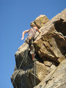 Rock Climbing Photo: Crazy unknown climber doing a trad, lead, solo?? 5...