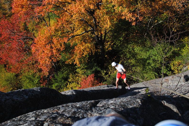 Rappelling the route to reach the base in early October.