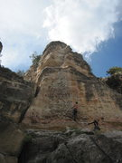 Rock Climbing Photo: Shot of the whole route. Don't bother with the sec...