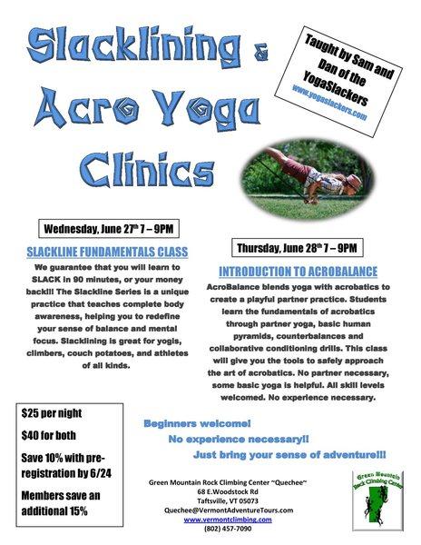 Intro to Slacklining and Acro Balance Clinics