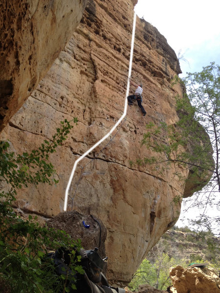 Gouda, 5.9 on the Swiss Wall at Jacks Canyon.  VERY fun line, enjoyable movement, excellent warm-up!