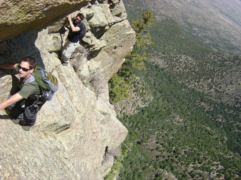 Rock Climbing Photo: Richard and Craig traversing left (north) around t...