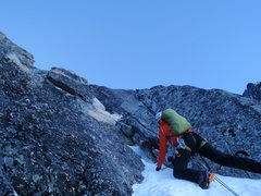 Climbing early on the 2nd day of the FWA of the NE Buttress, Dragontail Peak.