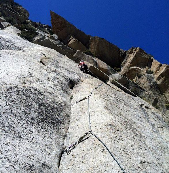 Rock Climbing Photo: Anne cruising through fun liebacking on Pitch 3.