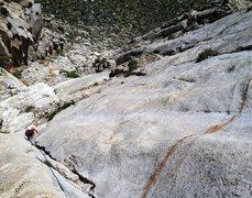 Rock Climbing Photo: Looking down Pitch 2.