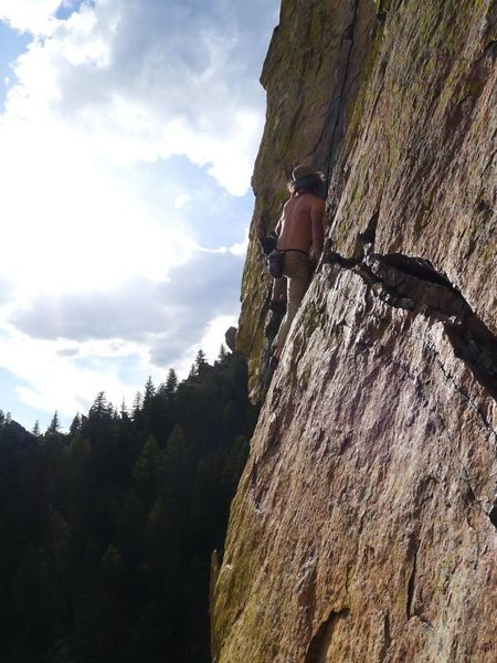 Abrahm after the P4 hand traverse (even more spicy sans rope).