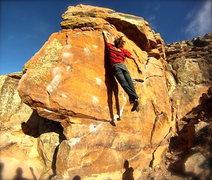 Rock Climbing Photo: Clay James sticking the dyno.