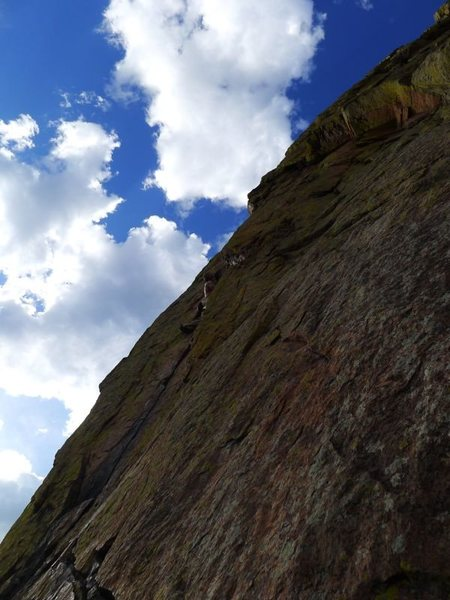 Rock Climbing Photo: Abrahm starts up the steep, thin crack on P4.