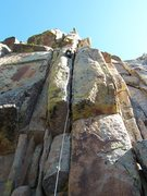 Rock Climbing Photo: Lew RP'ing P1....