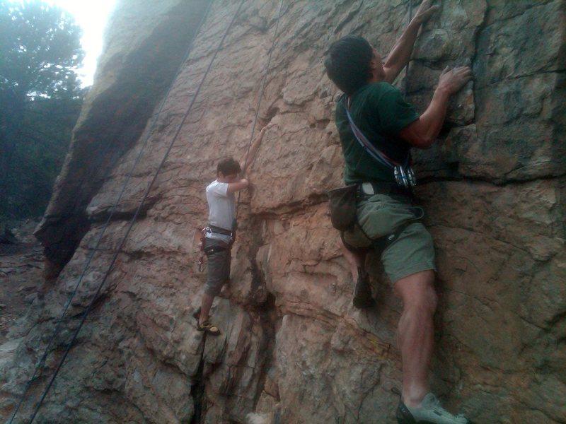 Rock Climbing Photo: Jimmy on Burnin' Rubber and Leo on Smokin' Joints.