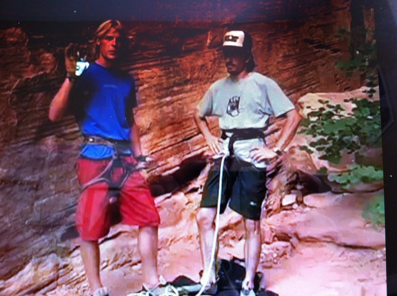 Chris Lindner with our absolute favorite belayer BILLY!<br> &quot;Back on you Billy!&quot;