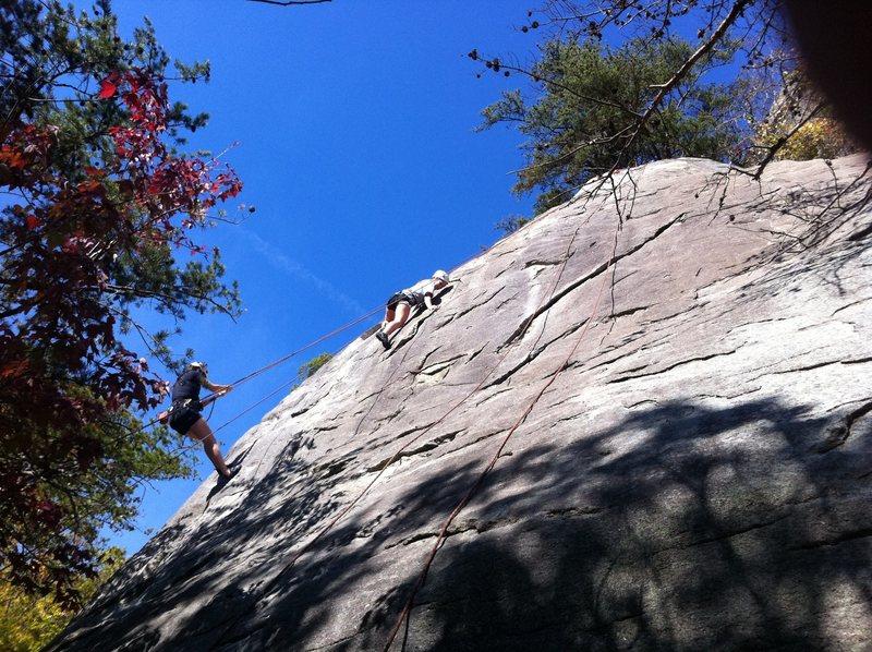Jen on her first climb ever.  Bear Hunt at Rumbling Bald (5.7+)