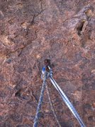 Rock Climbing Photo: The one bolt at the ledge on top of P1.  Belay can...
