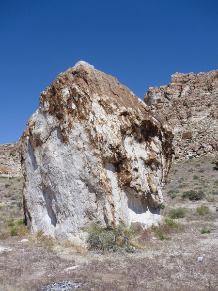 The first boulder you will see at the Warm Point area.