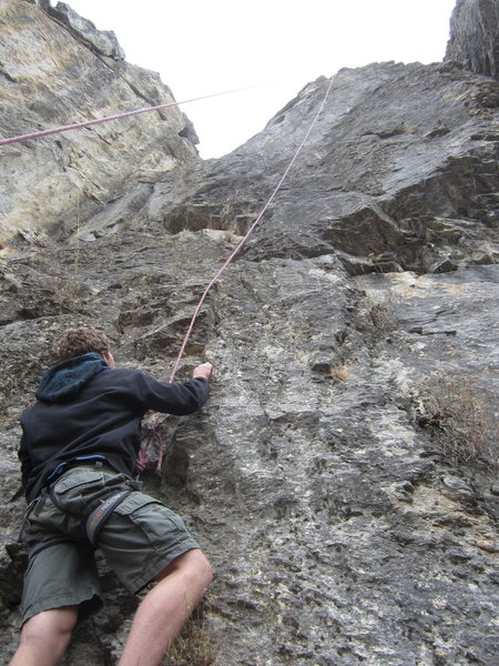"Climbing buddy Taylor Robbins starting up a Top-Roped ""Grifter"" 5.10a/b at The Killer Crag, Ogden Canyon"