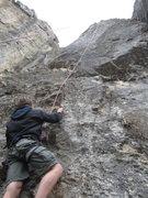 Rock Climbing Photo: Climbing buddy Taylor Robbins starting up a Top-Ro...