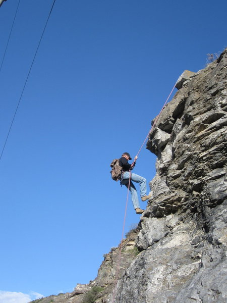 My dad, Boyd Bindrup, rapping off Drill Bit Wall, Ogden Canyon, just after we set the Anchor.