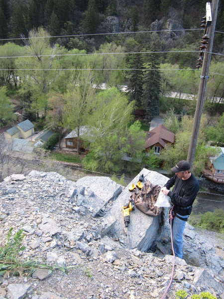 My dad setting the Anchor on Drill Bit Wall, Ogden Canyon.<br>