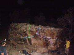 Rock Climbing Photo: Cashin' Checks is Route 1, in blue.