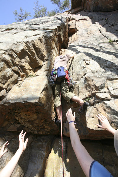 Start of Dirt Bag. As with most T-wall moderates, the crux is getting off the ground then you can enjoy the route.