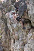 Rock Climbing Photo: James snagging a knee-bar shake. April 2012.