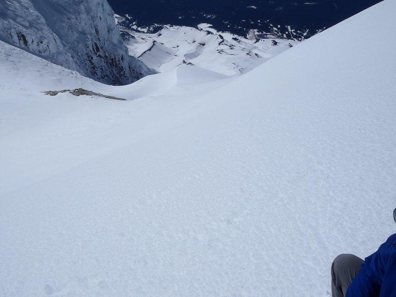Ski descent from hogback
