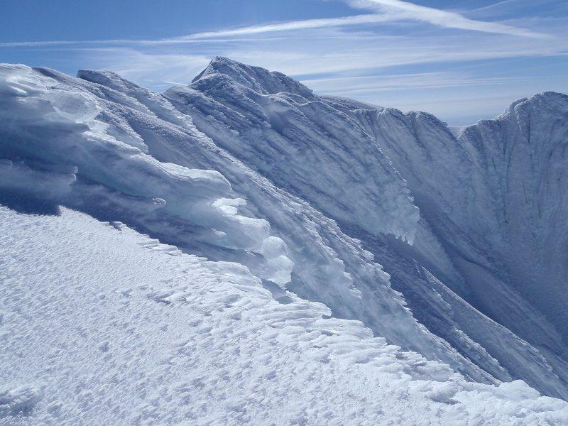On summit ridge to summit