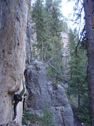 Rock Climbing Photo: Cali getting ready to huck.  Party Wall, Danks. Sp...