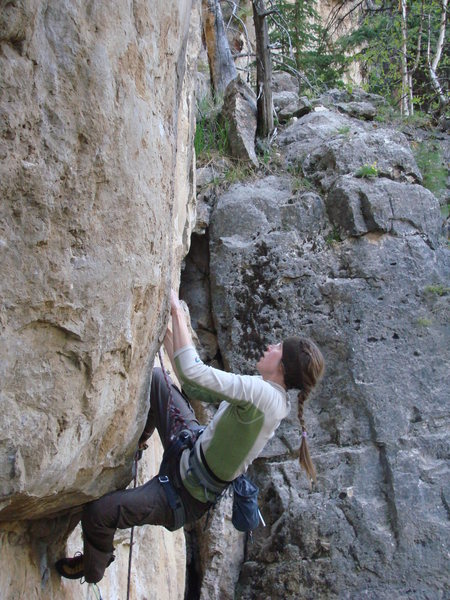 Cali on Too Drunk to Huck, 5.12c<br> <br> Party Wall, Danks.<br> Spearfish Canyon, SD.