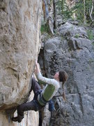 Rock Climbing Photo: Cali on Too Drunk to Huck, 5.12c  Party Wall, Dank...