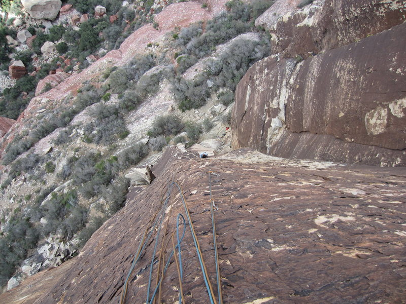 Rock Climbing Photo: No real need to, but the first two pitches combine...
