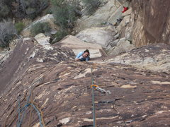 Rock Climbing Photo: My wife saluting me. Guess maybe we should not com...