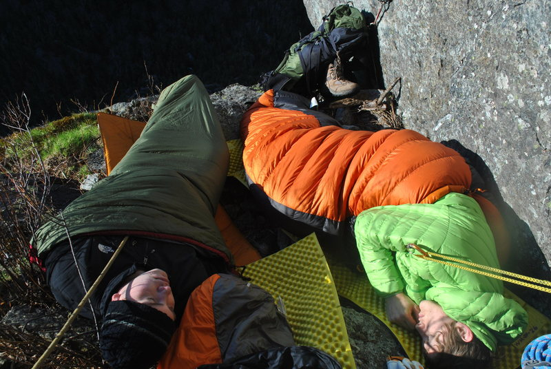 Rock Climbing Photo: Spending the night on the ledge at P4