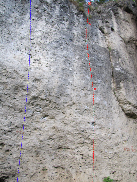 Rock Climbing Photo: Nimm's Leicht in Red. Duell (R 12b) in Blue.