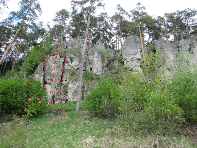 Rock Climbing Photo: 1) Brennnesselvariante (R 1b) (4), 2) R 1a (3) 3) ...