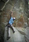 Rock Climbing Photo: Ryan entering the crack sequence.