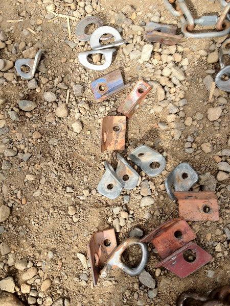 Rock Climbing Photo: Home made aluminum hangers, old Leepers, angle iro...