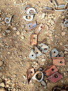 Rock Climbing Photo: Home made aluminum hangers, old Leepers, angle iro...