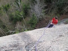 Rock Climbing Photo: Looking down at the belay atop the first pitch