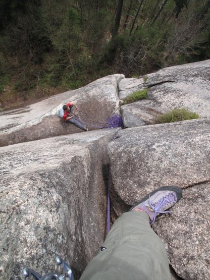 Looking down at the belay atop ptch 1 from the pod