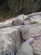 Rock Climbing Photo: Looking down at the belay atop ptch 1 from the pod
