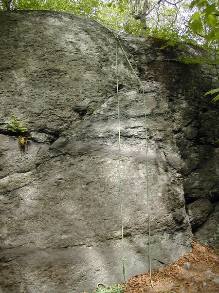 """The green rope approximately goes over the route called """"Yes!"""". I believe the arête is on, so don't feel like you have to climb up the blank face. Notice the large triangular block. To the right of that block is an 8-inch crack which you see as you approach Pusherman Wall from the right."""
