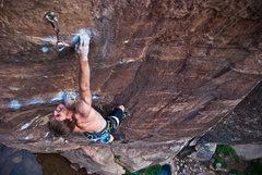 Rock Climbing Photo: Joel Unema pulling hard on Picture Me Rolling, Win...