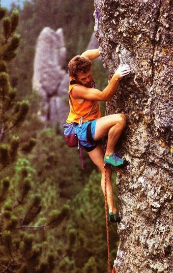 Our hero.<br> <br> Photo by Beth Wald. Climbing Issue #110. October 1988.