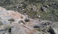 Rock Climbing Photo: At top of pitch 2 looking down with the rope indic...
