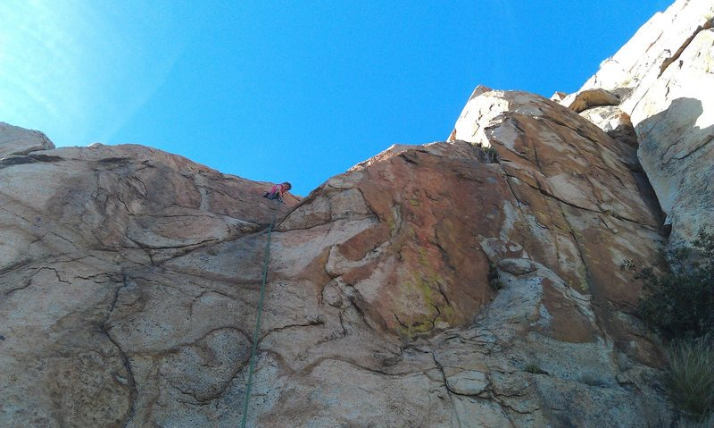 Rock Climbing Photo: Top of the 3rd pitch at the good ledge.  You can s...