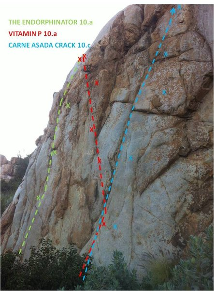 Rock Climbing Photo: Route Beta for Endorphinator, Vitamin P, and Carne...