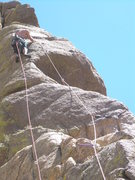 Rock Climbing Photo: The crux is moving around the bulge.