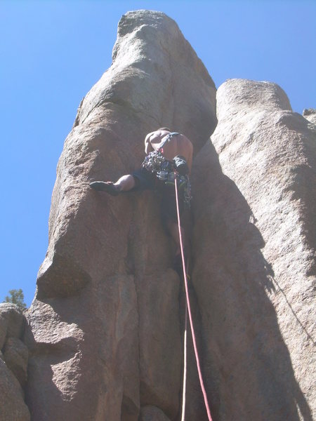 Rock Climbing Photo: Pitch 4 is a corner on the arete.