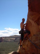 Rock Climbing Photo: Wyatt smiles before doing battle with the desperat...